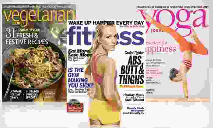 """Healthy-Living Magazine Subscriptions: """"Vegetarian Times,"""" """"Yoga Journal,"""" or """"Fitness"""" Magazine Subscription (Up to 75% Off). Free Shipping."""
