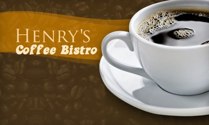 Henry's Coffee Bistro - Multiple Locations: $5 for $10 Worth of Barista Beverages and Café Fare at Henry's Coffee Bistro