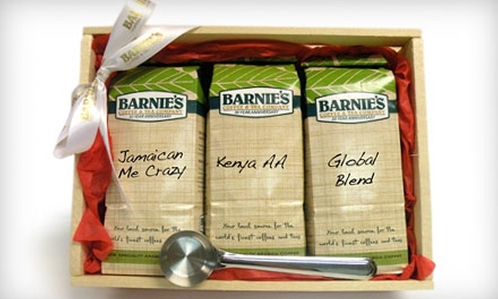 Barnie's Coffee & Tea Company: $41 for 3 Pounds of Premium Coffee and Stainless-Steel Scoop from Barnie's Coffee & Tea Company ($82 Value)