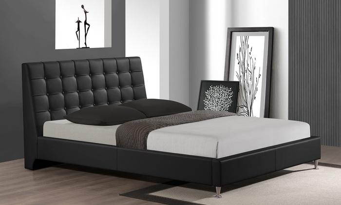 Tufted platform beds groupon goods for Beds groupon