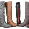 Journee Collection Women's Wide-Calf Studded Knee-High Riding Boots