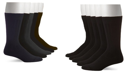 10-Pack of John Weitz Assorted Ribbed Men's Dress Socks