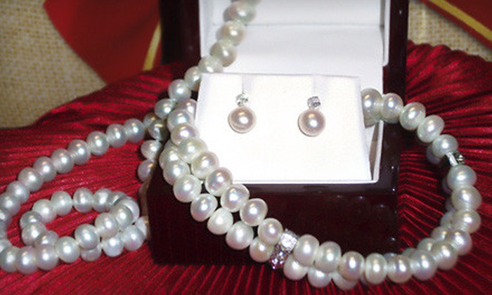 Monique of Switzerland Jewelers - Plymouth - Wayzata: Pearl Jewelry Set with Necklace, Bracelet, and Earrings or Engagement Ring from Monique of Switzerland Jewelers (Up to 51% Off)