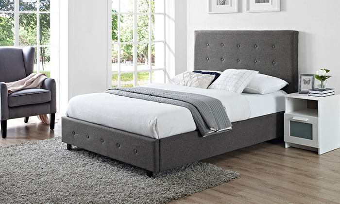 Verona Linen Fabric Bed with Optional Semi-Ortho Mattress