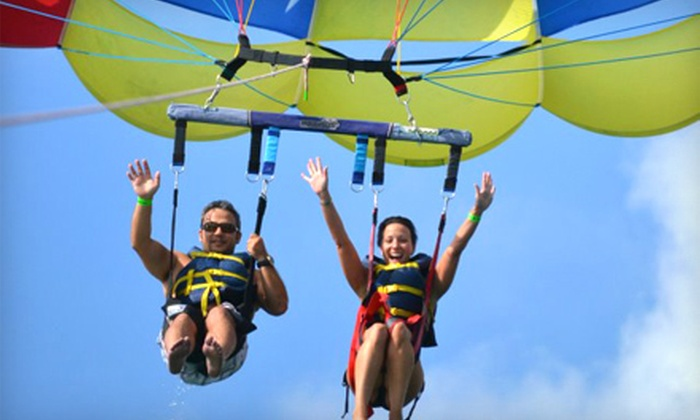Aquaworld Miami Beach - Flamingo / Lummus: $49 for a Two-Person Parasailing Ride from Aquaworld Miami Beach in Key Biscayne ($150 Value)