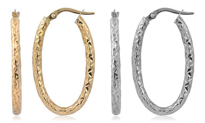 Diamond Cut Oval Hoop Earrings In 10k Yellow Or White Gold