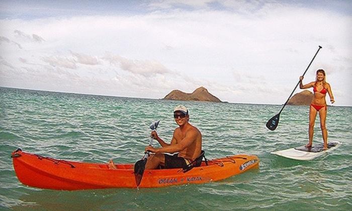 Windward Watersports - Kailua: Kayak or Standup Paddleboard Rental or Kayak Tour for Two or Four at Windward Watersports in Kailua (Up to 54% Off)