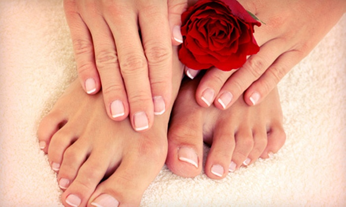 Velvet Wax Spa - Quadrangle: Classic Manicure and Spa Pedicure or Shellac Manicure and Spa Pedicure at Velvet Wax Spa (Up to 68% Off)