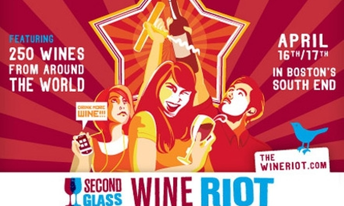 Second Glass – Wine Riot - South End: $30 Ticket to Wine Riot on Saturday, April 17, at the Cyclorama