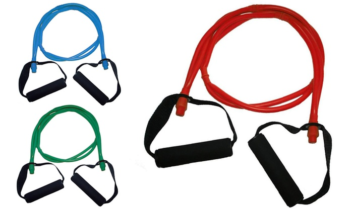 Dual-Strand Resistance Band in Light, Medium, or Heavy Resistance with Door Anchor and Free Total-Bo...