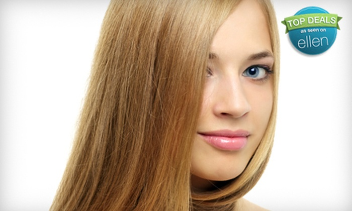Ovation Salon - Lincoln: Express Keratin Blowout, Full Foil Highlights, or a Brazilian Wax with Vajazzling Option at Ovation Salon (Up to 57% Off)