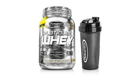 4lb. of MuscleTech 100% Platinum Whey Protein and a Bonus Shaker Cup