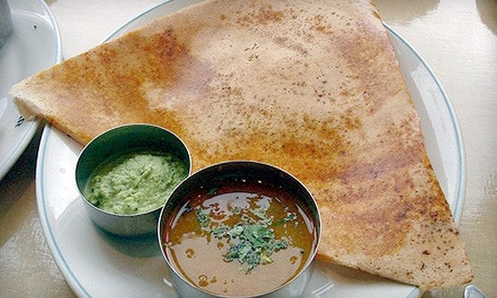 Dosa Delight - Jackson Heights: Indian Meal with Appetizer and Dessert for Two or Four at Dosa Delight in Jackson Heights (Up to 66% Off). Four Options Available