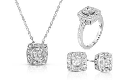 1/10 CTTW Diamond Ring, Pendant, or Earrings in Sterling Silver