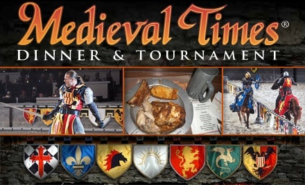 Medieval Times is a dining chain loaded with 11th century entertainment that features medieval-style games. Customers can receive a free admission for a future show with each full paid admission and they highly rate the food and show.