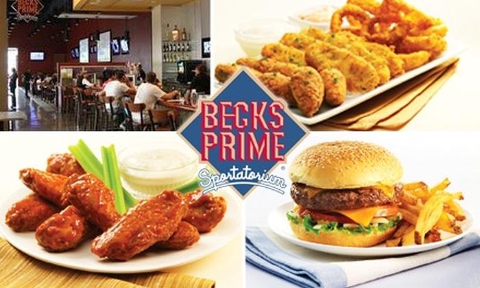 Becks Prime Sportatorium - Houston: $10 for $20 Worth of Quality Sports-Bar Eats and Drinks at Becks Prime Sportatorium