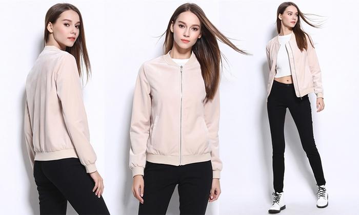 Olive Street Women's Bomber Jacket | Groupon Exclusive