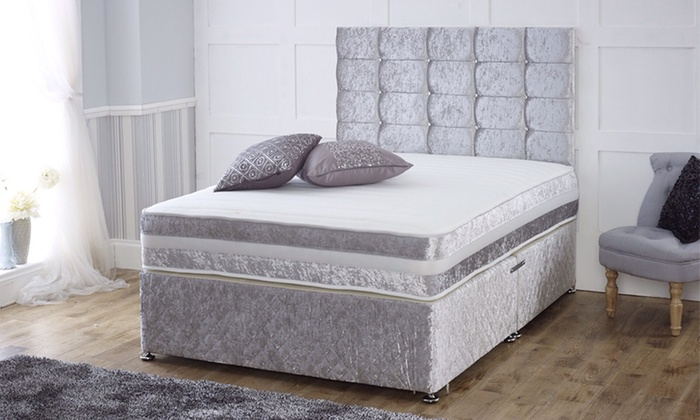 Crushed velvet divan bed groupon goods for Small double divan bed with headboard