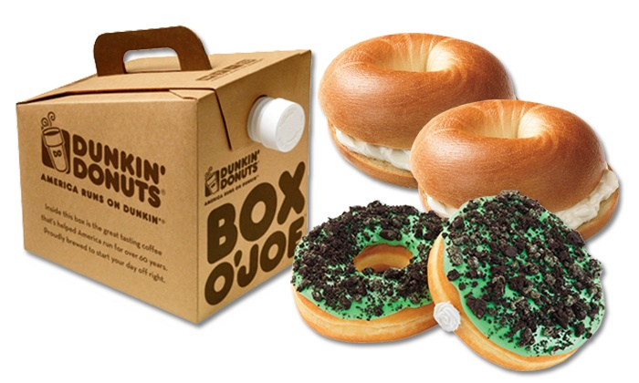 Dunkin' Donuts - Multiple Locations: One Box O' Joe and Six Donuts or One Dozen Bagels and Two Tubs of Cream Cheese at Dunkin' Donuts (46% Off)