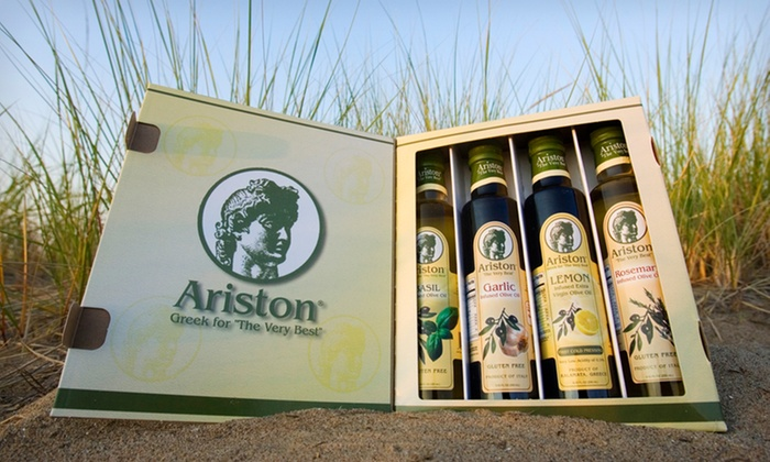 Ariston 4-Piece Olive Oil Boxed Set: $29.99 for an Ariston 4-Piece Infused Olive Oil Boxed Set ($49.95 List Price). Free Shipping.