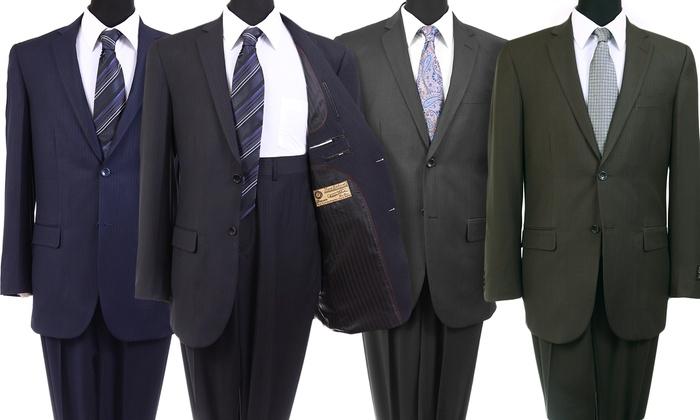 Men's 100% Wool Platinum Stripe Suit