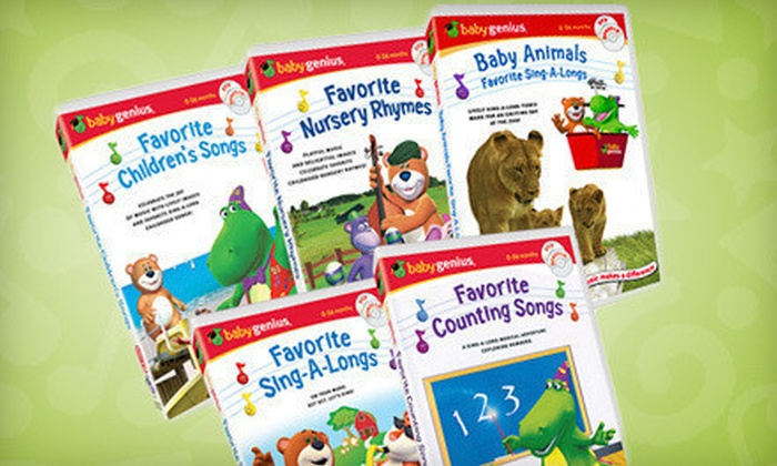 Baby Genius Sing-Along DVDs and CDs: $25 for a 10-Disc Baby Genius Sing-Along DVD and CD Set ($64.90 List Price). Free Shipping.