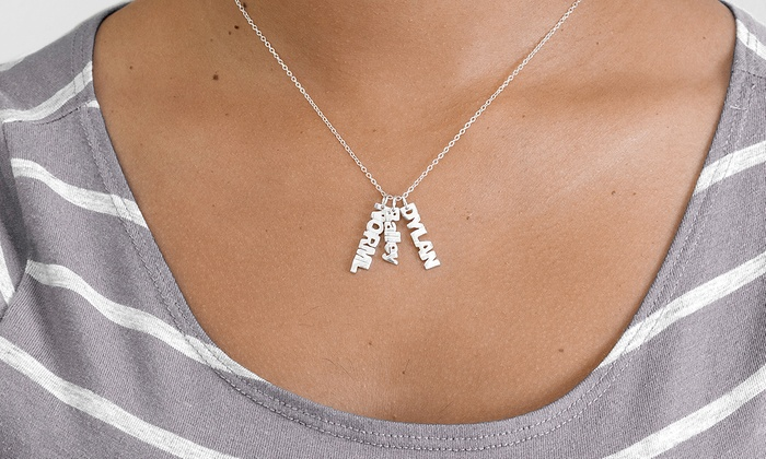 MonogramHub: $6 for a Sterling-Silver-Plated Vertical Mini Name Necklace with One Name from MonogramHub ($69.99 Value)