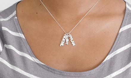 $7 for a SterlingSilverPlated Vertical Mini Name Necklace with One Name from MonogramHub ($69.99 Value)