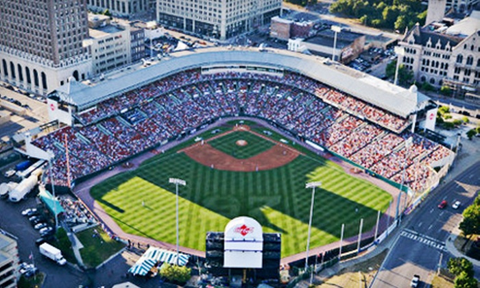Buffalo Bisons - Central Business District: Buffalo Bisons Game Package for One, Two, or Four on August 16 (Up to 54% Off)