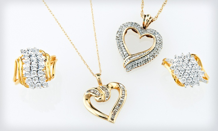 Yellow Gold and Diamond Jewelry: Diamond Pendants and Rings (Up to 81% Off). Seven Options Available. Free Shipping and Free Returns.