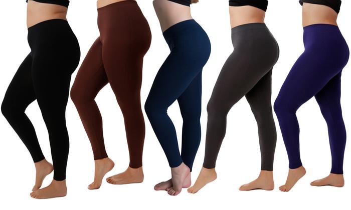 5-Pack of Women's Plus-Size Slimming Leggings | Groupon