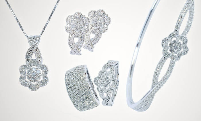 White-Diamond Jewelry: Diamond Flower Bangle, Earrings, Pendant, or Ring or 1-Carat Diamond Ring (Up to 83% Off). Free Shipping and Returns.