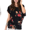 Lyss Loo Women's Floral Dolman Tunic Top. Available in Plus Sizes.