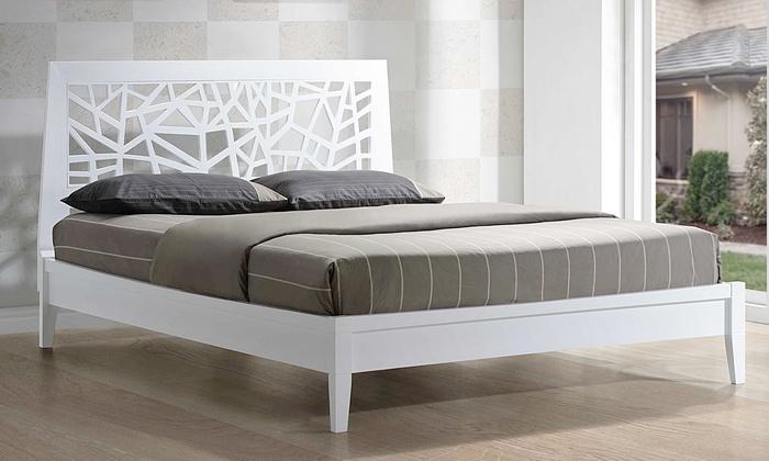 Modern Tree-Branch-Inspired White Platform Bed: Modern Tree-Branch-Inspired