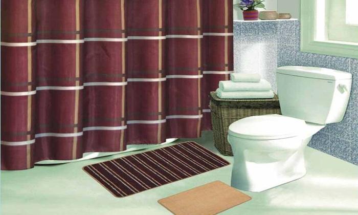 Striped Bath Set with 2 Bath Mats: 15 PieceStriped Bath Set with 2 Bath Mats. Multiple Colors Available.