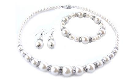 Conjunto de brincos, pulseira e colar com pérolas e Swarovski Elements por 12,99€