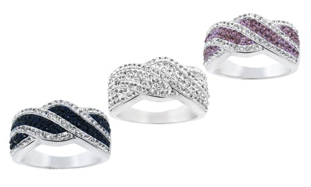 18K White Gold Plated Crystal Twist Ring Made with Swarovski Elements
