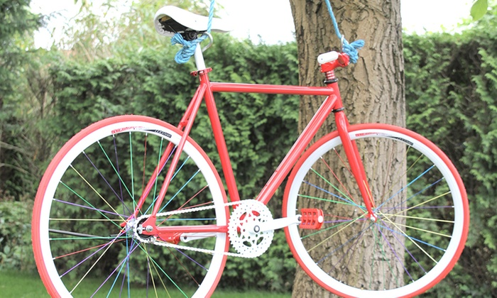 Single speed fiets rood of blauw groupon goods