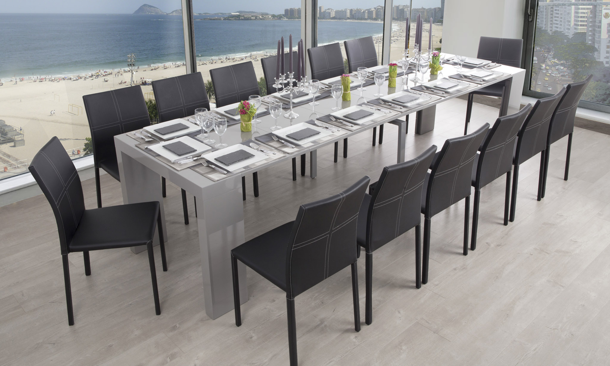 Console extensible 12 personnes perfect latest table - Table salle a manger extensible 12 personnes ...