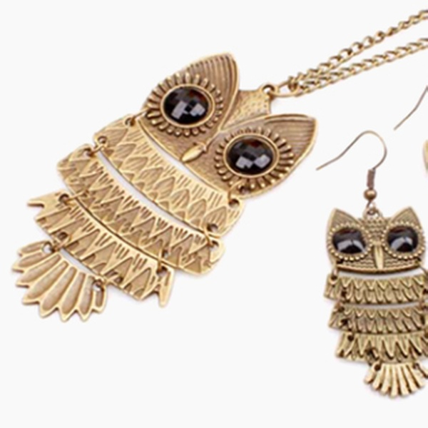 Owl Necklace Earrings Groupon Goods