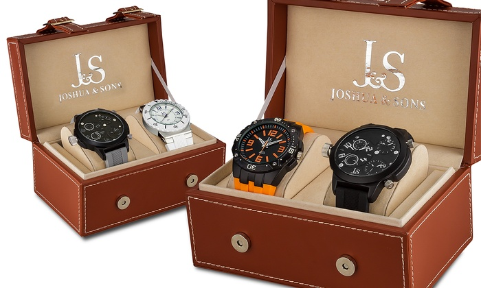 Joshua & Sons Men's Two-Watch Gift Set: Joshua & Sons Men's Two-Watch Gift Set