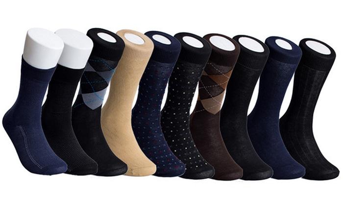 Men's Assorted Dress Socks (10-Pack)