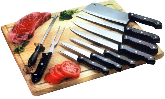 10 piece kitchen knife set with bamboo cutting board groupon for Kitchen knife set of 7pcs with cutting board