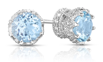 1.60 CTTW Genuine Aquamarine Stud Earrings in Sterling Silver