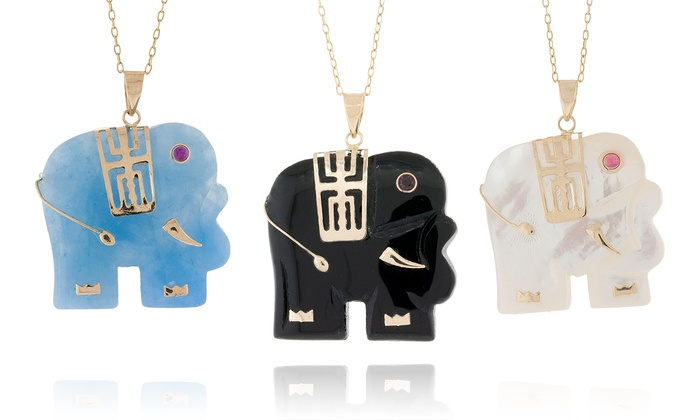 Jade elephant pendants groupon goods jade elephant pendants in 14k gold aloadofball Gallery