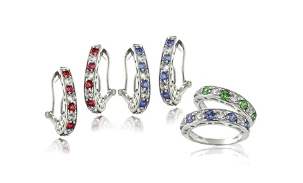 Created Gemstone Earrings or Half Eternity Band in Sterling Silver