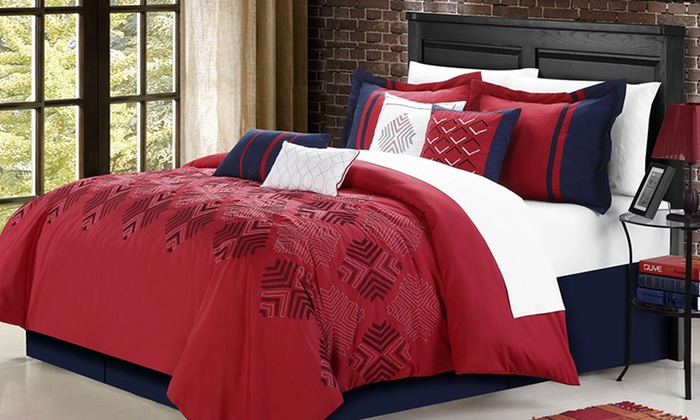 8-Piece Embroidered Comforter Set: 8-Piece Embroidered Comforter Set. Four Options Available. Free Returns.