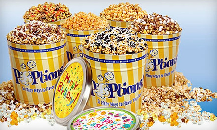 POPtions Popcorn - Ladue: Gourmet Popcorn Bags or Tins at Poptions (Half Off). Three Options Available.