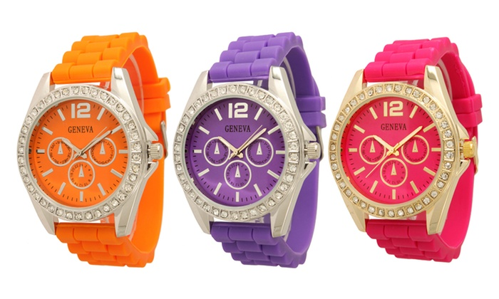 Women's Crystal Silicone Chrono Style Watch: Women's Crystal Silicone Chrono Style Watch. Multiple Colors Available. Free Returns.