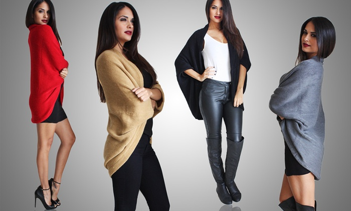 Oversize Convertible Shrug/Scarf: Oversize Convertible Shrug/Scarf in Black, Camel, Gray, or Red. Free Returns.